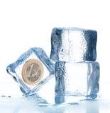 硬币求欧洲冰的立方里面 免版税图库摄影