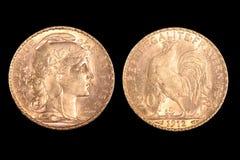 硬币法语金子 免版税库存图片