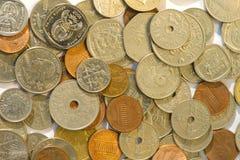 硬币特写镜头从多个国家的 免版税库存图片