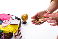 硬币现有量s妇女 免版税库存照片