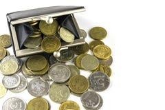 硬币疏松 硬币充分的钱包 俄国硬币-卢布 库存图片