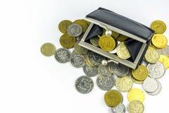 硬币疏松 硬币充分的钱包 俄国硬币-卢布 库存照片