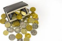 硬币疏松 硬币充分的钱包 俄国硬币-卢布 图库摄影