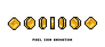 硬币的动画 映象点艺术8被咬住的对象 设置葡萄酒计算机录影拱廊的象 减速火箭的比赛财产 的treadled 向量例证