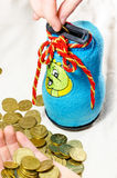 硬币的Moneybox 免版税库存照片