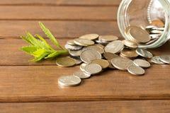 硬币绿色新芽在一张木桌上的 挽救的概念 图库摄影