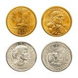 硬币美元金黄银 免版税库存照片