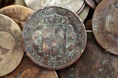 硬币老比塞塔实际共和国西班牙 免版税库存照片