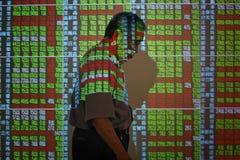 硬币舍去图形市场铅笔红色snd股票上升 库存图片