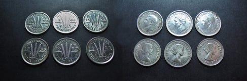 硬币葡萄酒银澳大利亚人三便士 免版税库存照片