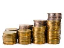 硬币行,事务 对财务和银行业务概念 免版税图库摄影
