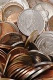 硬币详细堆 免版税图库摄影