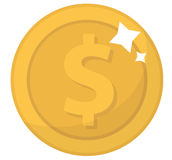 硬币象,平的设计 金币,分,隔绝在白色背景 流动应用和比赛的金钱 向量 图库摄影