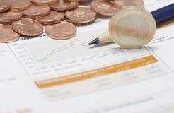 硬币边缘欧洲3月铅笔小的股票 免版税图库摄影