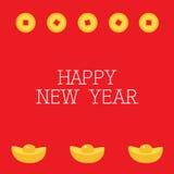硬币金钱正方形中心 金黄酒吧象 Cinese新年快乐标志属性 金锭 2007个看板卡招呼的新年好 平的设计 红色后面 库存图片