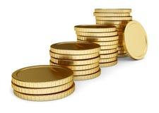 硬币金黄位置堆 向量例证