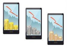 硬币销售在一个智能手机的在白色背景, bitcoin, ethereum, litecoin 库存图片