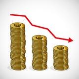 硬币长条图下来发生故障企业概念 向量例证