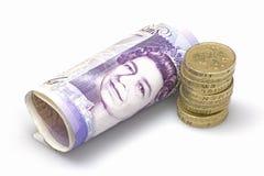 硬币附注堆镑二十 免版税库存照片