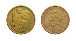 硬币1冠1962年捷克斯洛伐克 图库摄影