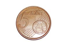 硬币5欧分 库存图片
