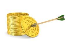 硬币bitcoin和箭头在白色背景 被隔绝的3d illustra 免版税库存照片