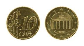 硬币eurocents十 免版税库存照片