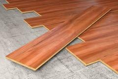 硬木覆盖物地板3D翻译 库存图片