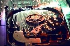 硬盘和纤维光学 图库摄影