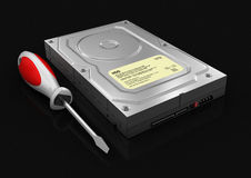 硬盘和螺丝刀(包括的裁减路线) 库存照片