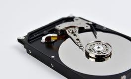 硬盘开放在白色背景 免版税图库摄影