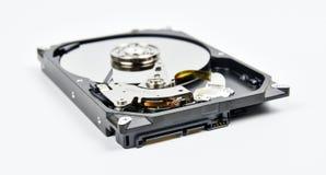 硬盘开放在白色背景 免版税库存图片