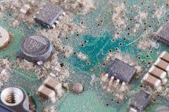 从硬盘的多灰尘的电路板-计算机系列分开 免版税库存图片