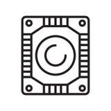 硬盘象在白色backgro和标志隔绝的传染媒介标志 库存例证