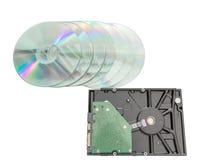 硬盘驱动器和dvd圆盘 免版税库存照片