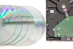 硬盘驱动器和dvd圆盘 免版税库存图片