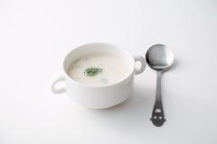 硬花甘蓝蘑菇汤奶油  免版税图库摄影
