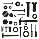 硬件螺丝和钉子与工具标志 图库摄影