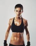 确信地摆在健身的女性 库存照片