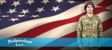 确信的军事战士身分画象的综合图象  库存照片