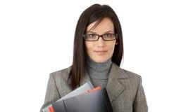 确信的妇女企业纵向  图库摄影