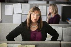 确信的妇女工作 免版税库存照片