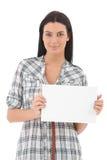 确信的少妇纵向有空白纸的 库存图片