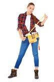 确信的愉快的DIY得心应手的妇女 免版税库存图片