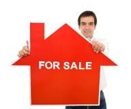 确信的房子销售额销售人员符号 免版税库存照片