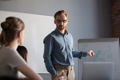 确信的报告人,团队负责人,给presentati的企业教练 库存图片