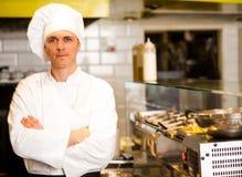 确信的男性厨师画象  免版税图库摄影