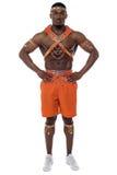 确信的男性桑巴舞蹈家 免版税库存图片