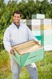 确信的蜂农运载的蜂窝条板箱 库存照片