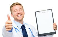 确信的年轻医生画象白色背景的 图库摄影